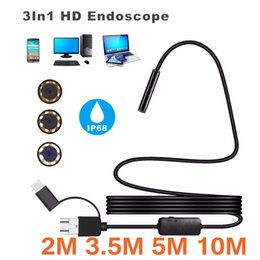 Wholesale 2m Ip Camera - 8mm Waterproof IP 68 2M 3.5M 5M 10M Cable 1200P HD 3-in-1 Computer Endoscope Borescope Tube 8 LEDs Inspection Borescope Camera