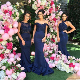 Wholesale Mermaid Dress Type - 2017 Navy Blue Mermaid Bridesmaid Dresses Lace Appliques Bateau Maid of Honor Gowns Luxury Wedding Guest Dresses 3 Type