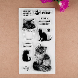 Wholesale Stamps For Scrapbooking - Wholesale- 1 sheet Cute Cat Transparent Clear Silicone Stamp Seal for DIY scrapbooking photo album card making Decorative Diary stamp