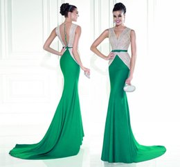 Wholesale Low Back Beaded Mermaid Dress - Fashion V Neck Celebrity Evening Dresses Spandex Cheap Prom Party Gowns Sexy Mermaid High Low Evening Dresses HY688