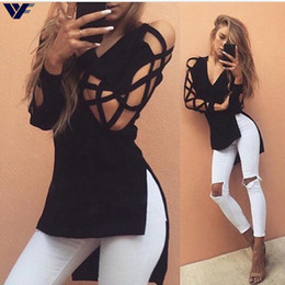 Wholesale Cut Out Back Shirt - Wholesale-Deep V Hollow Cut Out Sleeve Tee shirt Sexy Harajuku Women T Shirts Short Front Long Back Tops Tees Split Cool T shirt For Women