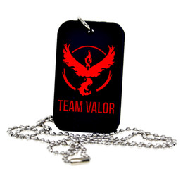 """Wholesale Dogs Silicone Tags - New Arrival 50PCS Lot Silicone Dog Tag Necklace with Team Valor Mystic Instinct, Pendant With 24"""" Ball Chain for Gamers"""