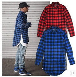 Wholesale Dance Turning - Wholesale- Red Blue Scottish Plaid Long Sleeve Flannel shirt Men  Dance Bboy Shirt Golden Side Zipper  Oversize Plaid Lengthen Shirt Man