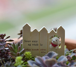 Wholesale fairies statues - Climb the fence puppy figurines terrarium Resin Craft House Oranment Fairy Garden Statues miniatures bonsai Gnomes