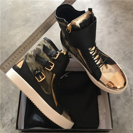 Wholesale Boot Lace Zippers - New brand Italian designer zanottys men sneakers women casual shoes genuine leather Lace-Up the high tops boots double zipper decorative