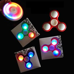 Wholesale Focus Diy - Wholesale- Lumiparty LED night Light Up Hand Finger Spinner Brass Fidget Toy EDC Focus Gyro Gift