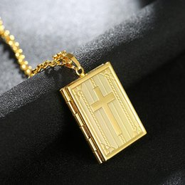 Wholesale Chain Memories - New Arrivals Hip Hop Cross Locket Statement Pendant Necklace Memory Photo Locket Fashion Jewelry for Men and Women
