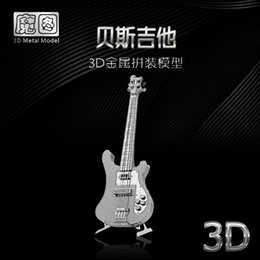 Wholesale 3d Puzzle Guitar - HKNANYUAN BASS Guitar model Exquisite gift 3D metal assembled puzzle Metal material No glue Can complete Desktop decoration