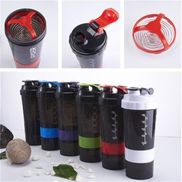 sport shakes Promo Codes - 6 Colors 500ML Fitness sports Shake cup Multilayer Outdoor Sports Water Bottle Plastic Cup Portable Shake Cup IA591