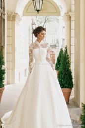 Wholesale Plus Size Wraps Boleros - modest muslim wedding dresses with long sleeves bolero 2017 milla nova bridal wedding gowns high neckline chapel train