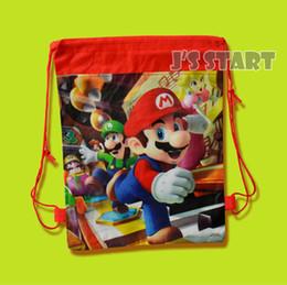 Wholesale Mario Drawstring Bag - 4 Styles kids boys non-woven fabric backpacks school bags super mario bros theme mochila drawstring bags free shipping