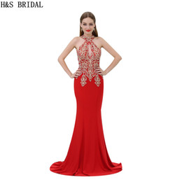 Wholesale Evening Dresses Crystal Stones - Sparkle Halter Crystal Stone Beading Evening dresses Red Luxury Sexy V Long Formal Evenning Gowns Prom Party Dress B062