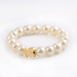 Wholesale Titanium Bracelet Singapore - Immitation pearl bear bracelet New arrival 2017 Fashion style Bear Bangle & Bracelet Steel bead bear Bracelet For Women Gift
