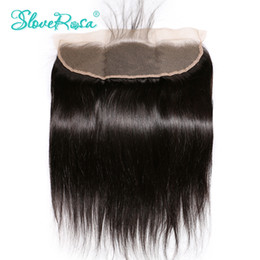 Wholesale Side Parting Closure - Slove Rosa Lace Frontal Closure Straight Brazilian Remy Hair 13x4 Ear To Ear Bleached Knots With Baby Hair Pre Plucked Hairline