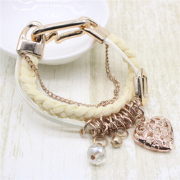 Wholesale Wholesale Leather Lace For Jewelry - Fashion Weaved Lace Leather Bracelets Alloy Heart Chain Link Bangle Jewelry For Women Gift Free Shipping