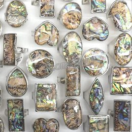 Wholesale Wholesale Square Plate - 50pcs Lot Big Natural Abalone Shell Rings Round, Square, Heart, Eye Shape Free Shipping