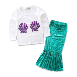 Wholesale Wholesale Childrens Cotton Tshirts - Wholesale Girls Childrens Clothing Sets Shell tshirts Mermaid Dresses 2pcs Set Spring Autum Girl Toddler Kids Clothes Outfits