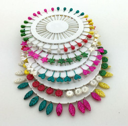Wholesale Heart Cross Stitch - 360pcs Sunflower Star Leaf Heart Water-drop Pearl Bead Head Pins Corsage DIy Crafts Cross stitch Clothes Sewing Tools