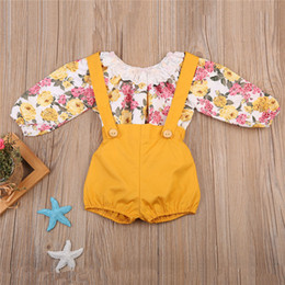 Wholesale Girls Lace Long Sleeve Top - European Baby girl Floral Jumpsuit + Yellow Overall clothing set Lace Neck Top Romper Balloon sleeve 2017 Autumn