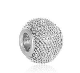 Wholesale Holiday Tennis - Wholesale 30pcs Tennis Ball Silver Netted Bead European Charm Beads Fit Women Pandora Bracelet Bangle Pendant DIY Charms Fashion Jewelry Xma