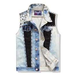 Wholesale Mens Waistcoats Casual - Wholesale- Fashion Mens Casual Cowboy Vest Patchwork Rivet Blue Color Sequined Men's Sleeveless Jean Jacket Waistcoat