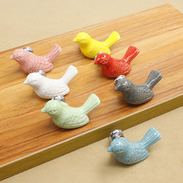 Wholesale Ceramic Dresser Drawer Knobs - Dresser Drawer Pulls Handles Ceramic Bird Kids Kitchen Cabinet Cupboard Door Handles Furniture Drawer Knobs 7 Colors