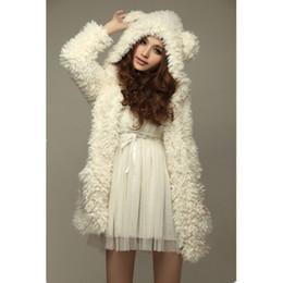 Wholesale Teddy Coat Women - Wholesale- Autumn Winter Warm Women Hoodie Coat Jacket Teddy Bear Ears Thick Soft Fleece Fur Overcoat Sweatshirt Hooded Long Outerwear