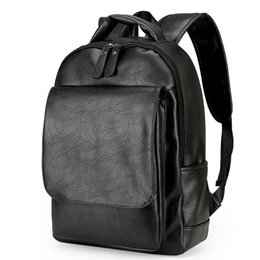 Wholesale Vintage Style Laptop Bags - Leather Men Backpack For Man 2017 Backpacks Black Backpacks Male Fashion Rucksack Schoolbags Black Backpack Business Laptop Bags
