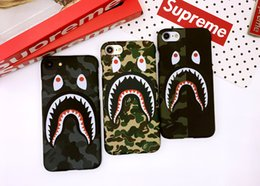 Wholesale Plastic Shark - Camouflage Ape Man Shark Case For iphone 7 Plus Hard Back Phone Cases Luminous Glow Cover For iphone 6 6S Plus Coque Fanda