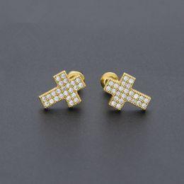 Wholesale Mens Crosses - 2017 Brand Designer Hip Hop Earrings 14k Gold Mens CZ Stud Earrings Fashion Jewelry punk Crosses Earring Jewellery For Men 1.2*0.9cm