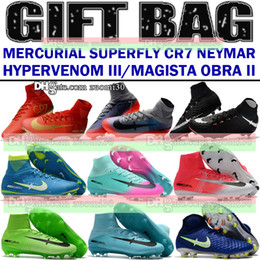 Wholesale Kids Neymar CR7 Football Boots Ronaldo Mercurial Superfly V FG AG Indoor Soccer Shoes Magista Obra II Soccer Boots IC TF Turf Soccer Cleats