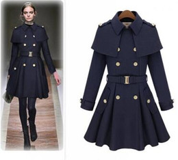 Wholesale Blue Cashmere Coat - Luxury Wool Coat Cashmere Middle Length Cape shawl Women's Outerwear Coats Sexy Slim Trench Coats Ladies' Clothing Overcoat belt