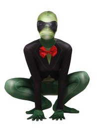 Wholesale Frog Bodies - DHL Green Frog Full Body Spandex Lycra Catsuit Cosplay Party Dress Funny Costume