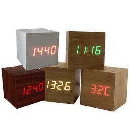 Argentina Control de sonido multicolor Madera de madera Cuadrado LED Reloj despertador Mesa de escritorio Termómetro digital Lámpara Madera USB / AAA Fecha Visualización cheap usb digital thermometer Suministro