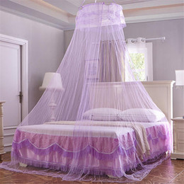 Wholesale Curtains Furniture - Universal Elegant Round Lace Insect Bed Canopy Netting Curtain Dome Polyester Bedding Mosquito Net Home Furniture