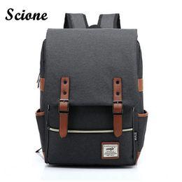 Wholesale School Bagpacks - Wholesale- Fashion Men Daily Canvas Backpacks for Laptop Large Capacity Computer Bag Casual Student School Bagpacks Travel Rucksacks 1050tp