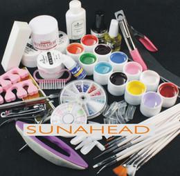 Wholesale Uv False Nail Kit - Wholesale- Jumbo Nail Art color UV gel set glitter Decoration brush false tips top cost files 12 colour uv gel Kit tools