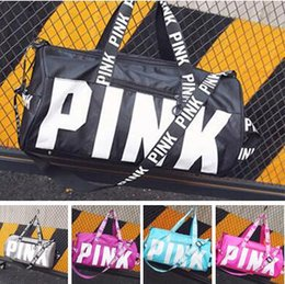 Wholesale Women Handbags Wholesale - Women Handbags Fashion Love VS Pink Bags 5 Colors Large Capacity Travel Duffle Striped Waterproof Beach Bag Shoulder Bag DHL Free Shipping