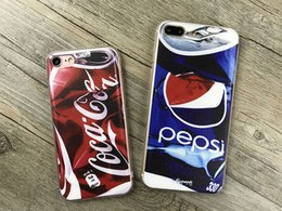 Wholesale Pepsi Phone - New Luxury Coke Pepsi Case For iPhone 5 5s 6 6S plus case Drink Beer Bottles Cartoon Anti-knock Phone Cases Cover