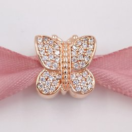 Wholesale Silver Plated Butterfly Charms Beads - New 925 Sterling Silver Beads Rose Gold Sparkling Butterfly Fits European Pandora Style Jewelry Bracelets 781257CZ Rose Gold Plated