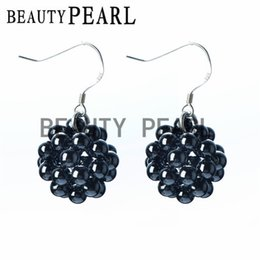 Wholesale 925 4mm Earrings - Handmade Ball Earrings Smooth Round 4mm Black Hematite Beads 925 Sterling Silver Hook Earrings for Ladies