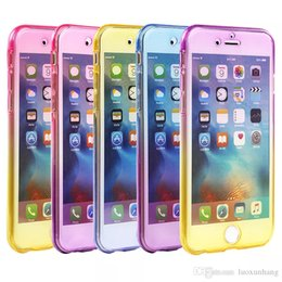 Wholesale Tpu Gel Silicone Skin - 360 Degree Coverage Gradient Colorful Full Body Slim Transparent Soft TPU Gel Shockproof Case Cover Skin for iPhone 7 Plus 6 6S MOQ:10pcs
