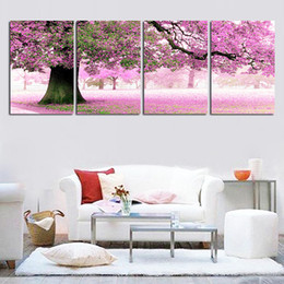 Wholesale Modern Decorative Art - 4 Season Tree Floral Oil Paintings Hand Painted 4 Piece Modern Landscape Decorative On Canvas Wall Art For Home Decoration