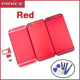 Wholesale Houses Color - New Full Red Color Housing For iPhone 6 6plus 6S Aluminum Metal Back Battery Door Cover Replacement