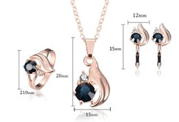 Wholesale 585 Ring - 1pair New 585 Gold Jewelry Women Earrings Trendy dark Blue Zircon Fashion Jewelry Designs for Women tail Necklace pendant Earring ring