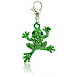 Wholesale frog accessories - Wholesale Fashion Charms With Lobster Clasp 2 Color Rhinestone Frog Animals Charms DIY Pendants Jewelry Making Accessories