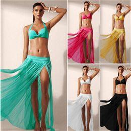 Wholesale Transparent Sexy Blouses - New Women Sexy Beach Dress Europe and transparent elastic mesh veil beach skirt bikini blouse sunscreen Cover UP Dress Swimsuit For Women