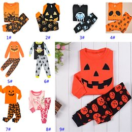 Wholesale Devil Children Set - Baby Halloween 2pcs Pajamas Sets Kids Children Vampire Pumpin Devil Reindeer Cosplay XMAS Clothing Boys Girls Top T-shirt+Pants Suits HH-S27