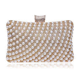 Wholesale beaded evening purse gold - Wholesale-Hot Selling Women Handbags Beaded Rhinestones Purse Evening Bags Messenger Lady Pearl Diamonds Clutches Bags