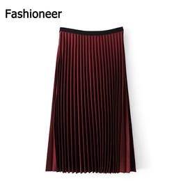 Wholesale Korean Slim Skirt - Fashioneer Korean Style Vintage Empire Pleated Skirt Long Women Autumn All Match Skirt High Quality Slimming Solid Color Skirt